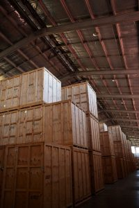 storage crates in warehouse